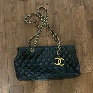 Chanel large leather quilted tote bag w/ charm